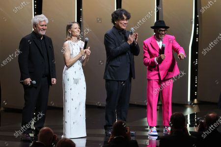(L-R) Pedro Almodovar, Jodie Foster, Bong Joon-Ho, Spike Lee, Opening Ceremony, the 74th International Cannes Film Festival, at Palais des Festivals