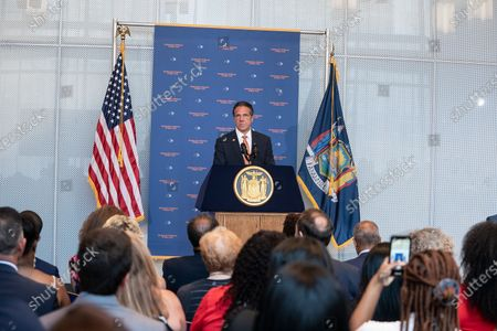 Governor Andrew Cuomo makes an announcement regarding gun violence in the state at John Jay College of Criminal Justice. Governor declared Disaster Emergency in order to tackled gun violence across the state. He announced the program to create well paying jobs, education, sport programs with investment by state by $138,7 million. He was joined by anti-gun activists, clergy and union leaders who will help to implement this program. He also signed legislation Hold Gun Manufacturers Liable for Their Products Creating a Public Nuisance and closing loophole allowing people with Outstanding Warrant for a Felony or Serious Offense legaly buy a gun. Governor during his speech made a sarcastic reference to boirder wall to keep illigal immigrants from entering the US advocated by Former President Donald Trump by saying that has a dream to build a wall around state to keep illigal guns from entering the state with beautiful 5 letters word: C-U-O-M-O and a little gold leaf over the top of the wall.