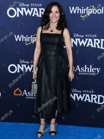 Stock Picture of Julia Louis-Dreyfus wearing an Emilia Wickstead dress with Irene Neuwirth jewelry