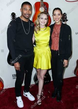 Charles Michael Davis, Britt Robertson and Jasmin Savoy Brown arrive at the Los Angeles Premiere Of Lionsgate's 'I Still Believe' held at ArcLight Cinemas Hollywood on March 7, 2020 in Hollywood, Los Angeles, California, United States.