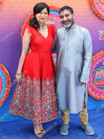 Sonal Shah and Parvesh Cheena arrive at the Los Angeles Premiere Of Disney Junior's 'Mira, Royal Detective' held at the Walt Disney Studios Main Theater on March 7, 2020 in Burbank, Los Angeles, California, United States.