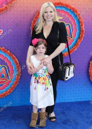 Viola Philomena Gallagher and Megan Hilty arrive at the Los Angeles Premiere Of Disney Junior's 'Mira, Royal Detective' held at the Walt Disney Studios Main Theater on March 7, 2020 in Burbank, Los Angeles, California, United States.