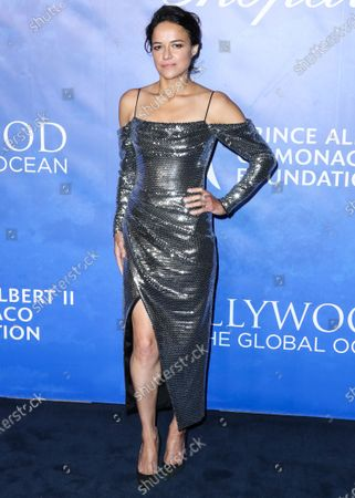 Actress Michelle Rodriguez arrives at the 2020 Hollywood For The Global Ocean Gala Honoring HSH Prince Albert II Of Monaco held at the Palazzo di Amore on February 6, 2020 in Beverly Hills, Los Angeles, California, United States.
