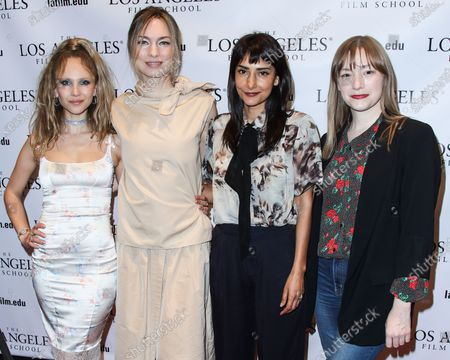 Actress Juno Temple, director Katherine O'Brien, actress Rebecca Hazlewood and producer Tory Lenosky arrive at the Los Angeles Special Screening Of 'Lost Transmissions' held at the Los Angeles Film School on March 11, 2020 in Hollywood, Los Angeles, California, United States.