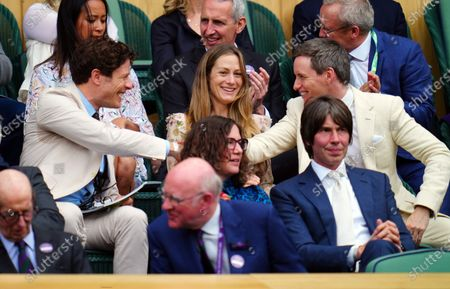 James Norton, Eddie Redmayne and Hannah Bagshawe in the Royal Box on Centre Court