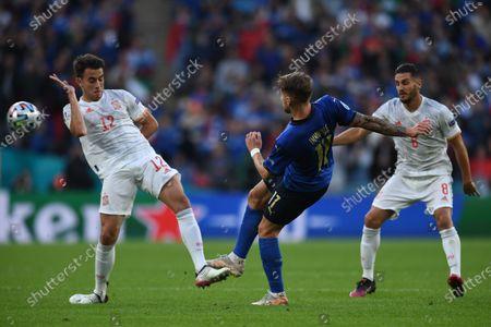 "Eric Garcia (Spain)Ciro Immobile (Italy)Koke Jorge Resurreccion Merodio (Spain)                     during the Uefa  ""European Championship 2020 Semifinals  match between Italy  5-3 Spain  at Wembley Stadium in London, England."