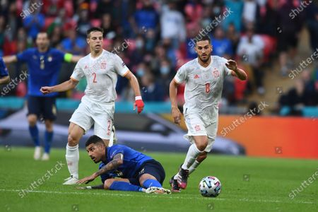 "Emerson Palmieri (Italy)Cesar Azpilicueta (Spain)Koke Jorge Resurreccion Merodio (Spain)                     during the Uefa  ""European Championship 2020 Semifinals  match between Italy  5-3 Spain  at Wembley Stadium in London, England."