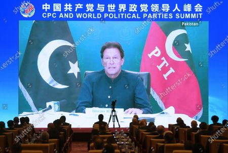 (210706) - BEIJING, July 6, 2021 (Xinhua) - Imran Khan, chairman of the Pakistan Tehreek-e-Insaf party and Pakistani prime minister, addresses the Communist Party of China (CPC) and World Political Parties Summit on July 6, 2021. The CPC and World Political Parties Summit was held via video link on Tuesday.