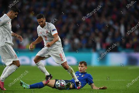"Alvaro Morata (Spain)Koke Jorge Resurreccion Merodio (Spain)Nicolo Barella (Italy)                      during the Uefa  ""European Championship 2020 Semifinals  match between Italy  5-3 Spain  at Wembley Stadium in London, England."