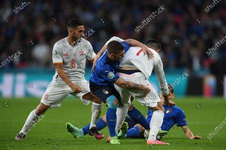 "Koke Jorge Resurreccion Merodio (Spain)Marco Verratti (Italy)Alvaro Morata (Spain)Nicolo Barella (Italy)                      during the Uefa  ""European Championship 2020 Semifinals  match between Italy  5-3 Spain  at Wembley Stadium in London, England."