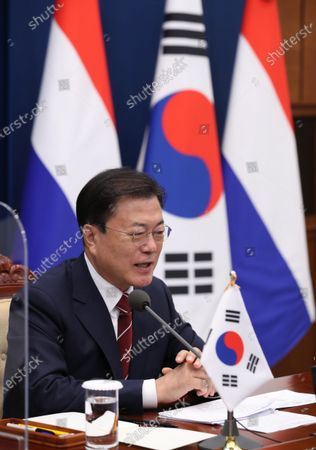South Korean President Moon Jae-in talks with Dutch Prime Minister Mark Rutte during their virtual meeting at the presidential office in Seoul, South Korea, 07 July 2021.