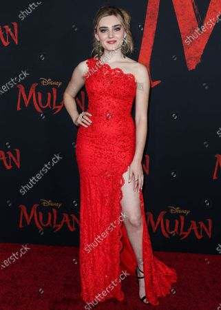 Actress Meg Donnelly arrives at the World Premiere Of Disney's 'Mulan' held at the El Capitan Theatre and Dolby Theatre on March 9, 2020 in Hollywood, Los Angeles, California, United States.
