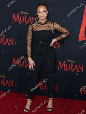 Nia Sioux Frazier arrives at the World Premiere Of Disney's 'Mulan' held at the El Capitan Theatre and Dolby Theatre on March 9, 2020 in Hollywood, Los Angeles, California, United States.