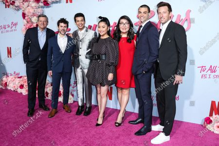 Ted Sarandos, Michael Filmognari, Jordan Fisher, Lana Condor, Jenny Han, Noah Centineo and Mark Kaplan arrive at the Los Angeles Premiere Of Netflix's 'To All The Boys: P.S. I Still Love You' held at the Egyptian Theatre on February 3, 2020 in Hollywood, Los Angeles, California, United States.
