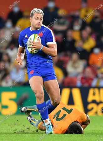 Stock Image of Arthur Vincent (L) of France gets past Matt Toomua (R) of the Wallabies during the First Rugby Union Test Match between the Australian Wallabies and France at Suncorp Stadium in Brisbane, Australia, 07 July 2021.