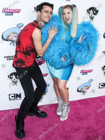 Fashion designer Christian Cowan and singer Meghan Trainor arrive at the 2020 Christian Cowan x Powerpuff Girls Runway Show Season II held at NeueHouse Los Angeles on March 8, 2020 in Hollywood, Los Angeles, California, United States.