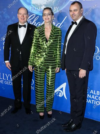 Prince Albert II, Sharon Stone and Milutin Gatsby arrive at the 2020 Hollywood For The Global Ocean Gala Honoring HSH Prince Albert II Of Monaco held at the Palazzo di Amore on February 6, 2020 in Beverly Hills, Los Angeles, California, United States.