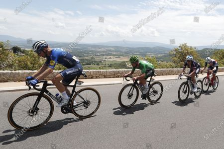 Stock Photo of Danish rider Michael Morkov of the Deceuninck Quick-Step team (L), Green Jersey British rider Mark Cavendish of the Deceuninck Quick-Step team (2-L) and Belgian rider Jasper Philipsen of the Alpecin-Fenix team (2-R) in action during the 11th stage of the Tour de France 2021 over 198.9 km from Sorgues to Malaucene, France, 07 July 2021.