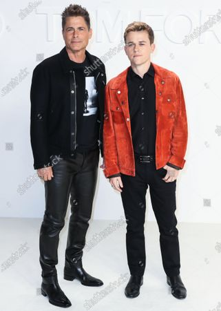 Stock Photo of Rob Lowe and John Owen Lowe arrive at the Tom Ford: Autumn/Winter 2020 Fashion Show held at Milk Studios on February 7, 2020 in Hollywood, Los Angeles, California, United States.