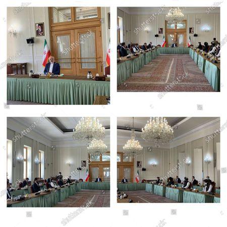 Stock Image of La combinación de fotos distribuidas por la cancillería iraní muestra una reunión de delegaciones del Talibán y el gobierno de Afganistán presidida por el canciller iraní Mohammad Javad Zarif en Teherán, Irán, miércoles 7 de julio de 2021
