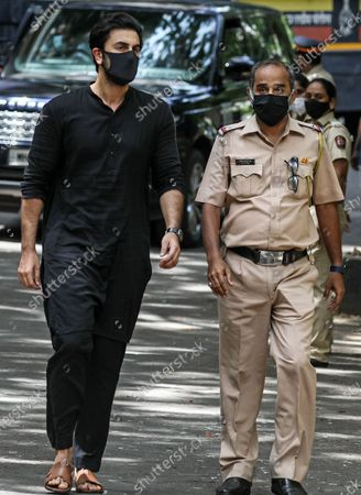 Bollywood actor Ranbir Kapoor (L) arrives to pay his respect to late Bollywood veteran actor Dilip Kumar, at his residence in Mumbai, India, 07 July 2021. Dilip Kumar, one of India's most famous actors, has died in Mumbai at the age of 98.