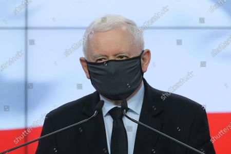 Leader of the Polish Law and Justice (PiS) rulling party Jaroslaw Kaczynski attends a press conference at the Polish parliament building in Warsaw, Poland, 07 July 2021. Poland's ruling coalition will keep its parliamentary majority after one of the three MPs who had quit Law and Justice (PiS), the coalition's dominant party, decided to return. Arkadiusz Czartoryski is returning to the PIS parliamentary caucus, party leader Jaroslaw Kaczynski said on 07 July. 'We have a majority in the Sejm (lower house),' he added.