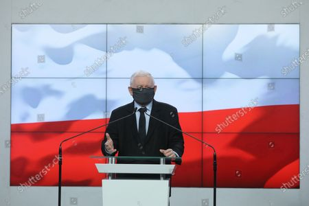 Editorial photo of Leader of the Polish Law and Justice rulling party Jaroslaw Kaczynski press conference, Warsaw, Poland - 07 Jul 2021