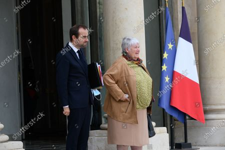 Stock Image of French Overseas Minister Sebastien Lecornu and French Minister of Territorial Cohesion and Relations with Local Authorities Minister, Jacqueline Gourault leave after the weekly cabinet meeting at Elysee Palace.