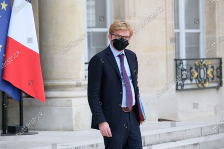 French Minister of State for Relations with Parliament Marc Fesneau Leaves after the weekly cabinet meeting at Elysee Palace.