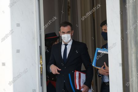 French Health and Social Affairs Minister Olivier Veran and French Agriculture Minister Julien Denormandie leave after the weekly cabinet meeting at Elysee Palace.