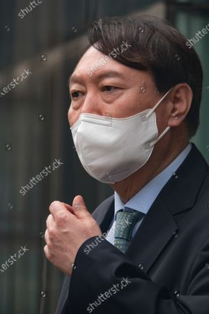 South Korean former Prosecutor General Yoon Seok-Youl, who has announced his intention to run in next year's presidential election as an opposition candidate, attends a press conference during his visit to Seoul National University. South Korean President Moon Jae-In selected Yoon in July 2019 to lead the national prosecution service but Yoon later clashed with president Moon government's justice ministers over a prosecution reform drive which was one of Moon's major presidential election pledges. Yoon stepped down as prosecutor general in early March 2021. Yoon is one of leading candidates for the next presidential election of South Korea.