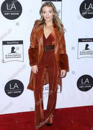 Actress Jade Pettyjohn arrives at the Los Angeles Art Show 2020 Opening Night Gala held at the Los Angeles Convention Center on February 5, 2020 in Los Angeles, California, United States.