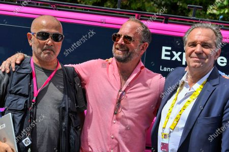 """Stock Picture of Hiroshi Daimon, Jonathan Vaughters of WorldTeam EF Education """"Nippo with Renaud Muselier, President of the Regional Council of Provence-Alpes-Côte d'Azur at the start of stage 11 of Tour de France cycling race, over 197.8 kilometers (123.5 miles) with start in Sorgues and finish in Malaucene"""