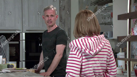 Coronation Street - Ep 10381 Monday 19th July 2021 - 2nd Ep Leanne Battersby, as played by Jane Danson, instructs Sam Blakeman to put his posters back on the wall as Oliver's old bedroom is now his and she wants him to feel at home. Also pictured Nick Tilsley, as played by Ben Price.