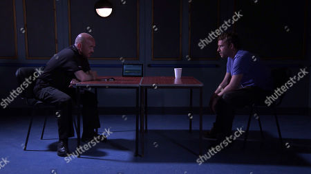 Coronation Street - Ep 10378 & Ep 10379 Friday 16th July 2021 The police question Paul Foreman, as played by Peter Ash, about the stolen heat pump.