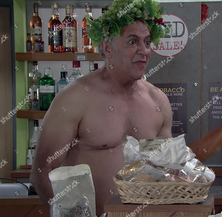 Coronation Street - Ep 10380 Monday 19th July 2021 - 1st Ep Debbie Webster enters the corner shop to be faced by a naked Dev Alahan, as played by Jimmi Harkishin. Dev darts between the aisles trying to cover his modesty.