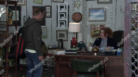 Coronation Street - Ep 10378 & Ep 10379 Friday 16th July 2021 Tyrone Dobbs, as played by Alan Halsall, calls at the furniture shop and confronts Fiz Stape, as played by Jennie McAlpine, over the article.