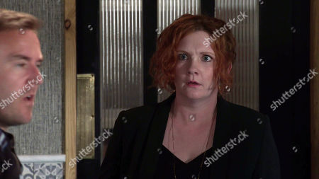 Coronation Street - Ep 10384 & Ep 10385 Friday 23rd July 2021  In a bid to make peace, Phill pays Tyrone Dobbs', as played by Alan Halsall, bill. Tyrone's humiliated and takes a drunken swing at Phill causing him to trip. Fiz Stape, as played by Jennie McAlpine, is shocked.