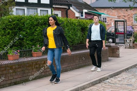 Coronation Street - Ep 10375 Monday 12th July 2021 - 2nd Ep Alya Nazir, as played by Sair Khan, tells Ryan Connor, as played by Ryan Prescott, they're finished.