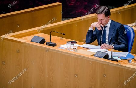 Outgoing Prime Minister Mark Rutte during a debate in the House of Representatives about the childcare benefits report and the resignation of the cabinet in The Hague, the Netherlands, 07 July 2021.