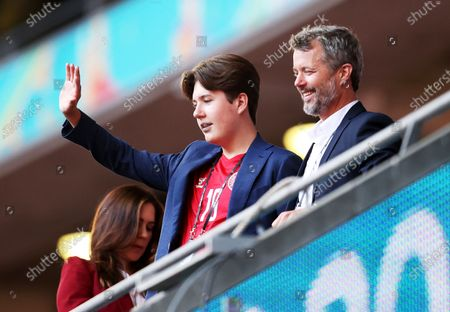 Frederik, Crown Prince of Denmark, his wife Crown Princess Mary and their son Prince Christian before the UEFA EURO 2020 semi final between England and Denmark in London, Britain, 07 July 2021.