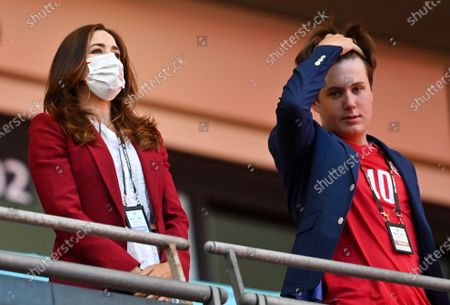 Crown Princess Mary of Denmark and her son Prince Christian before the UEFA EURO 2020 semi final between England and Denmark in London, Britain, 07 July 2021.