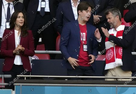 Stock Picture of Frederik, Crown Prince of Denmark, his wife Crown Princess Mary and their son Prince Christian before the UEFA EURO 2020 semi final between England and Denmark in London, Britain, 07 July 2021.