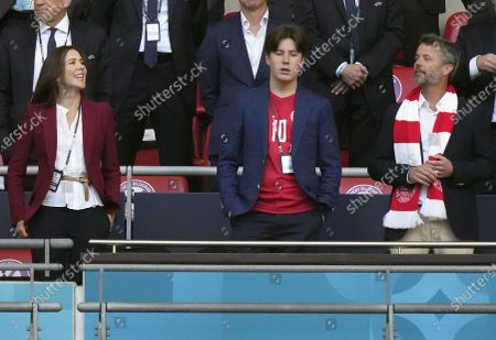 Stock Image of Frederik, Crown Prince of Denmark, his wife Crown Princess Mary and their son Prince Christian before the UEFA EURO 2020 semi final between England and Denmark in London, Britain, 07 July 2021.