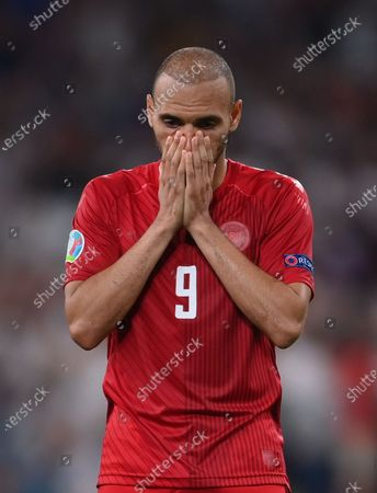 Martin Braithwaite of Denmark reacts after losing the UEFA EURO 2020 semi final between England and Denmark in London, Britain, 07 July 2021.