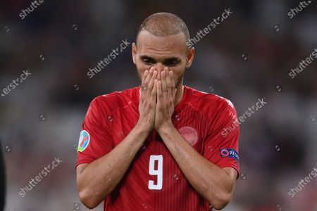 Denmark's Martin Braithwaite reacts end of the Euro 2020 soccer semifinal match between England and Denmark at Wembley stadium in London, . England won 2-1