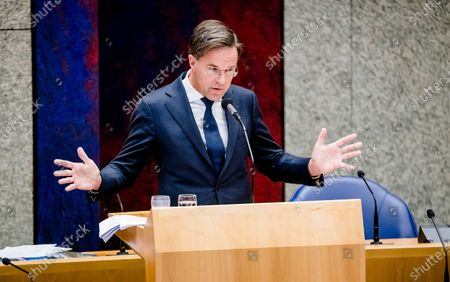 Outgoing Prime Minister Mark Rutte speaks during a debate in the House of Representatives about the childcare benefits report and the resignation of the cabinet, in The Hague, the Netherlands, 07 July 2021.