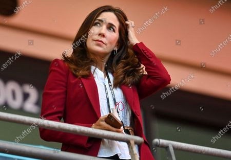 Mary, Crown Princess of Denmark, looks from the stands ahead of the Euro 2020 soccer championship semifinal between England and Denmark at Wembley stadium in London