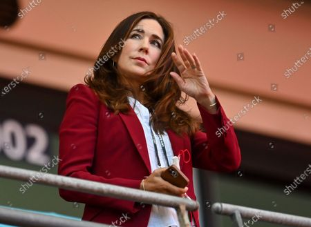 Stock Picture of Mary, Crown Princess of Denmark, looks from the stands ahead of the Euro 2020 soccer championship semifinal between England and Denmark at Wembley stadium in London