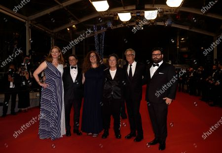 Carolyn Hepburn, from left, Christopher Clements, Julie Goldman, Christine Vachon, director Todd Haynes, and Adam Kurnitz pose for photographers upon arrival at the premiere of the film 'The Velvet Underground' at the 74th international film festival, Cannes, southern France